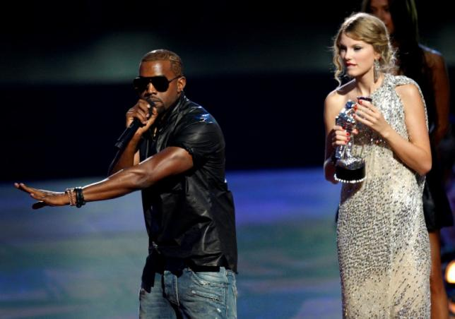 Perhaps the most infamous interruption in modern social history. Kanye West (L) interrupts the acceptance speech from best female video winner Taylor Swift (R) at the 2009 MTV Video Music Awards in New York, September 13, 2009. REUTERS/Gary Hershorn