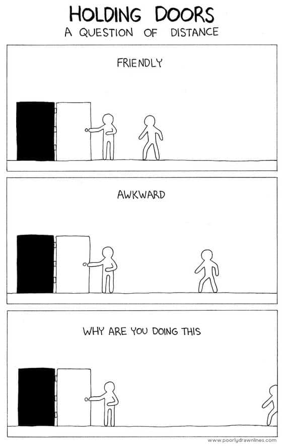 Holding Doors for Others A Question of Polite and Awkward Distances